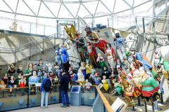 The world`s largest collection of ships` figureheads in the gallery beneath the holds of Cutty Sark museum royalty free stock images