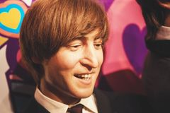 London, United Kingdom - August 24, 2017: The Beatles in Madame. London, United Kingdom - August 24, 2017: John Lennon and The Beatles in Madame Tussauds of Stock Photo