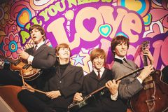 London, United Kingdom - August 24, 2017: The Beatles in Madame. Tussauds of London royalty free stock photos