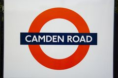 London, United Kingdom. August 22, 2019 - Camden road sign logo - informational signs the unmistakable red circular logo indicates
