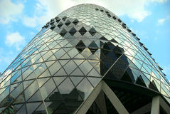 LONDON, UNITED KINGDOM - AUGUST 09, 2009 : close-up detail of The Gherkin skyscraper building Royalty Free Stock Image