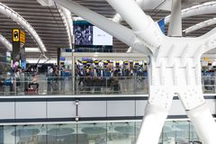 LONDON, UNITED KINGDOM - AUGUST 28, 2017 - Departures terminal at Heathrow Airport, one of six international airports serving Grea. Ter London royalty free stock photo