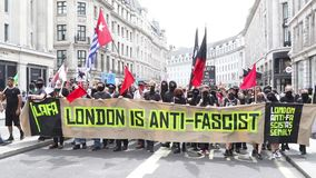 Anti facist protest in Central London stock video footage