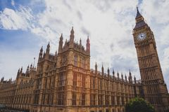 Detail of the Big Ben clock tower and Westminster building Stock Photography