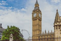Palace of Westminster and Big Ben in London city centre. LONDON, UNITED KINGDOM - August, 13th, 2015: Palace of Westminster and Big Ben in London city centre Royalty Free Stock Images