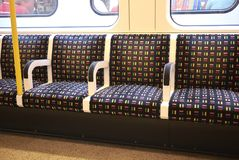 View of the Underground seats. London, United Kingdom - August 27, 2017 : Underground empty seats Stock Image