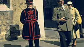 Tower of London tourists. LONDON, UNITED KINGDOM - CIRCA 1979: tourists at Tower of London historic castle, Her Majesty`s Royal Palace and Fortress by the River stock video