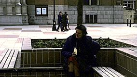 Archival Westminster Cathedral homeless in London stock video