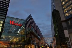 Beautiful night view to the famous shopping centre in Stratford during the Christmas period. royalty free stock image