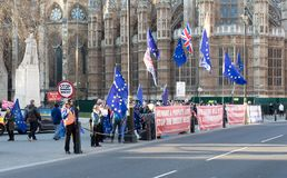 Signs in front of Westminster, London, UK protesting against Brexit stock photo