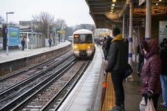 Free London, United Kingdom - February 01, 2019: Passengers Waiting On Station Platform For National Rail Train At Lewisham During Royalty Free Stock Image - 163611816