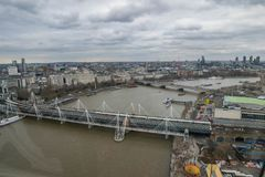 London, United Kingdom, February 17, 2018: Aerial view of London cityscape with the Hungerford Bridge over the river. Thames Royalty Free Stock Photos