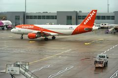 London, United Kingdom - February 05, 2019: Easyjet Airbus A 320 - 214 waits at LTN airport. easy Jet, is a British stock photography