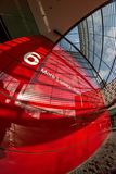 London, United Kingdom - February 10, 2007: Extreme wide fisheye photo, red wall of 6 More London Place building designed by royalty free stock photo