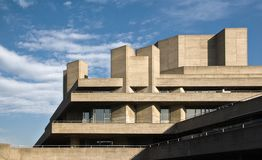 London, United Kingdom - February 17, 2007: Royal National theatre designed by Sir Denys Lasdun as seen from Waterloo Bridge. stock image