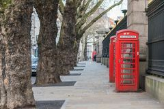 London, United Kingdom, February 17, 2018: Traditional London Red Telephone box stock photos