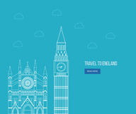 London, United Kingdom flat icons design travel concept Royalty Free Stock Photo