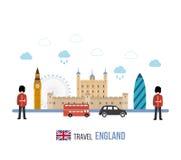 London, United Kingdom flat icons design travel Stock Photography