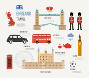 London, United Kingdom flat icons design travel. Concept. London travel. Historical and modern building. Vector illustration Royalty Free Stock Image
