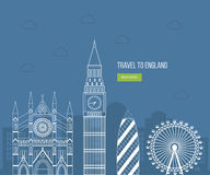 London, United Kingdom flat icons design travel Royalty Free Stock Photos