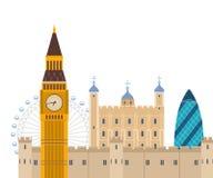 London, United Kingdom flat icons design travel Stock Images