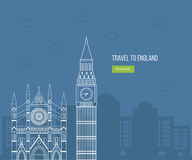 London, United Kingdom flat icons design travel Royalty Free Stock Image