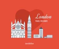 London, United Kingdom flat icons design travel Royalty Free Stock Photo