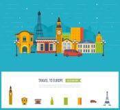 London, United Kingdom and France flat icons design travel concept. royalty free illustration