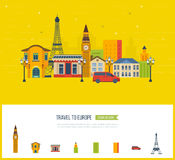 London, United Kingdom and France flat icons design travel concept. Stock Images