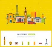 London, United Kingdom and France flat icons design travel concept. stock illustration