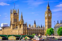 London, The United Kingdom of Great Britain: Palace of Westminster bridge Royalty Free Stock Photos