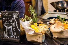 Mushrooms at Borough Market royalty free stock images
