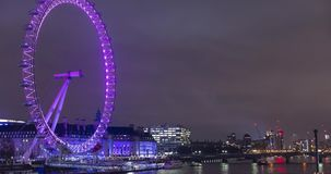London Eye with a striking dynamic display,custom-designed for Lumiere London 2018,called Eye Love London.Time lapse video,4k,4096 stock video