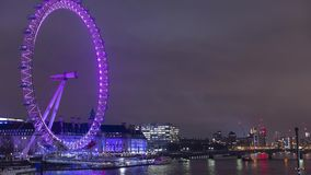 London Eye with a striking dynamic display,custom-designed for Lumiere London 2018,called Eye Love London.Time lapse video,4k,3840 stock video footage