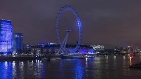 London Eye with a striking dynamic display,custom-designed for Lumiere London 2018,called Eye Love London.Time lapse video,4k,3840 stock footage