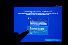 Microsoft diagnostic data after Windows 10 update. LONDON, UNITED KINGDOM - JUL 23, 2018: Send basic diagnostic data to Microsoft after Windows 10 update stock image