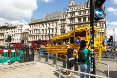 Legendary yellow Submarine stylized bus on the streets of London Royalty Free Stock Photos