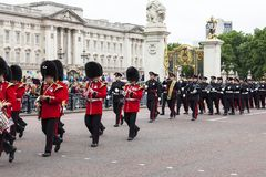 Ceremonial changing of the London guards , London, United Kingdom. LONDON, UNITED KINGDOM - JUNE 25, 2017 : Ceremonial changing of the London guards in front of stock photography