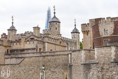 Tower of London, medieval defense building, London, United Kingdom. LONDON, UNITED KINGDOM - JUNE 22, 2017 : Tower of London, medieval defense building. The Royalty Free Stock Photo