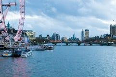 London Eye is the tallest Ferris wheel in Europe. LONDON, UNITED KINGDOM: London Eye is the tallest Ferris wheel in Europe at 135 meters Royalty Free Stock Photography