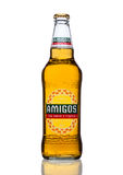 LONDON, UNITED KINGDOM - MARCH 23, 2017: Bottle of Amigos Tequila Beeron white. A beer brewed by the Fischer brewery. Stock Photos