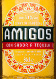LONDON, UNITED KINGDOM - MARCH 23, 2017: Bottle label of Amigos Tequila Beeron white. A beer brewed by the Fischer brewery. LONDON, UNITED KINGDOM - MARCH 23 Royalty Free Stock Photography