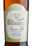 LONDON, UNITED KINGDOM - MARCH 23, 2017: Bottle label of Bitburger beer on white.Bitburger brewery is a large German brewery found Royalty Free Stock Image