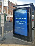 London, United Kingdom - March 31, 2020: Thank you poster advertisement at local bus stop Lewisham, expressing gratitude to NHS