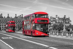 Red double decker in London Stock Images