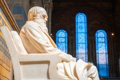 Statue of Sir Charles Darwin at The Natural History Museum in London. Sir Charles Darwin English naturalist, geologist and biologist his statue situated at the stock photography