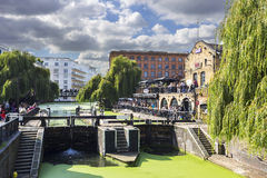 LONDON, UNITED KINGDOM - OCTOBER 1, 2015: Camden Lock, Hampstead Road Locks is a twin manually operated lock on the Regent's Canal Royalty Free Stock Image