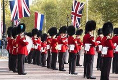 The guards of the Buckingham Palace during the traditional Changing of the Guard ceremony London United Kingdom. LONDON UNITED KINGDOM, OCTOBER 23 2018: the royalty free stock photos
