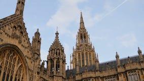 London, United Kingdom - October 20, 2017: Smooth sliding shot of Westminster palace in London, England. 4k. London, United Kingdom - October 20, 2017: Smooth stock footage