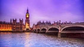 London, the United Kingdom: the Palace of Westminster with Big Ben, Elizabeth Tower, viewed from across the River Thames Royalty Free Stock Photo